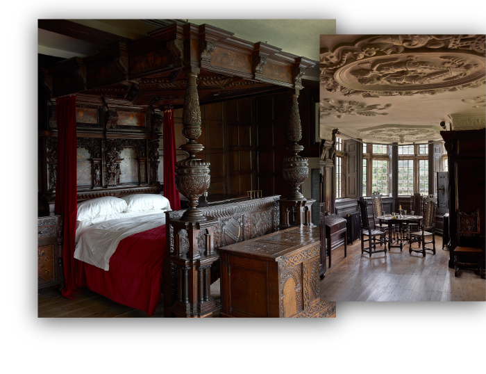 Two images displaying period interior of the Hall