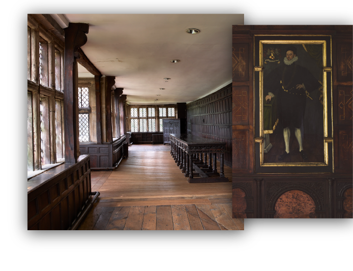 Two images, one displaying the recreation room and another a painting of male figure.