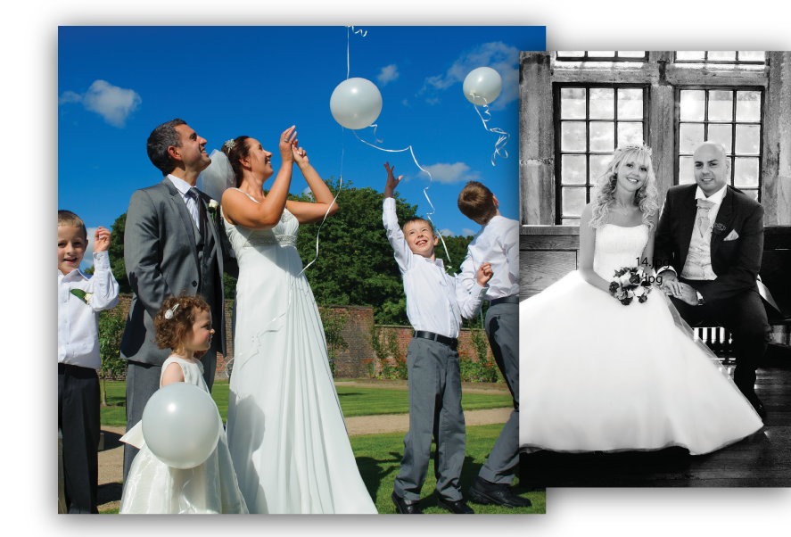 Two shots of different weddings held at Astley, one in colour and the other in black and white