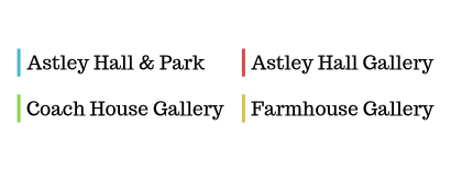 Astley Hall Events Colour Code